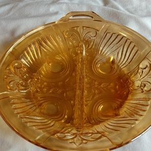 Carnival Glass,divided candy dish
